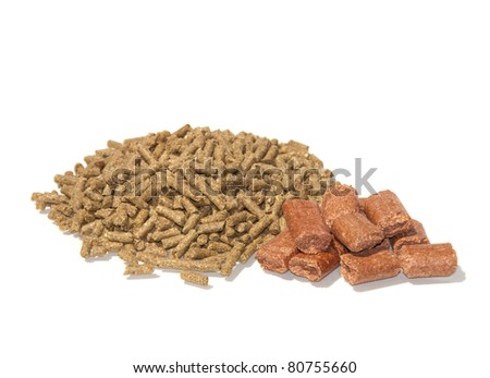 Pelleted horse feed and treats on white - stock photo