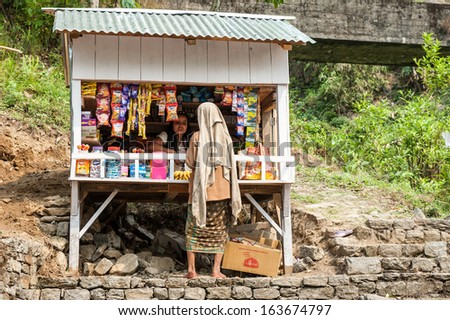 PELLING,INDIA-APRIL 15:Grocery store in Pelling village,West Sikkim on April 15,2013 in Pelling ,Sikkim,India. - stock photo