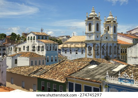 Pelourinho Salvador da Bahia Brazil historic city center with a rooftop view of colorful colonial buildings - stock photo