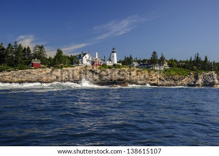 Pemaquid Point Lighthouse as seen from a boat, Maine, USA - stock photo