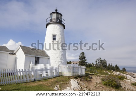 Pemaquid Point Lighthouse located on the Maine coast.  In Bristol,  Lincoln county. Close up shot. - stock photo