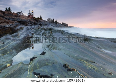 Pemaquid Point lighthouse, Maine, USA - stock photo