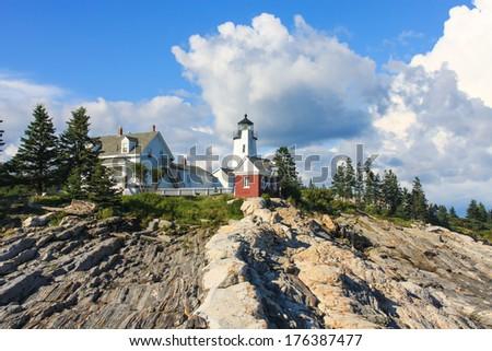 Pemaquid Point Lighthouse, Maine, USA - stock photo
