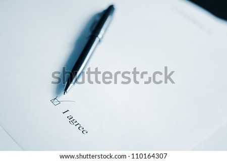 Pen and clause of an agreement. Black and white. - stock photo