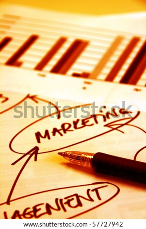 Pen and documents with graphs and mind map on the desk - stock photo