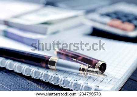 pen and note - stock photo