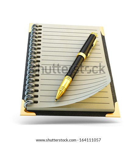 Pen and notebook isolated on white - stock photo