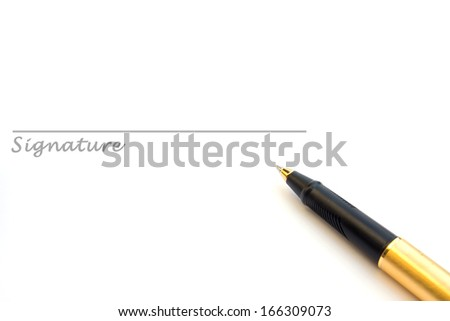 Pen and signature isolated on white - stock photo