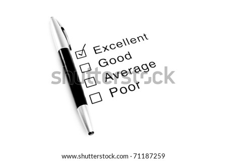 Pen and survey with Excellent checked - stock photo