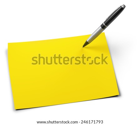 pen and yellow sheet isolated on white background - stock photo