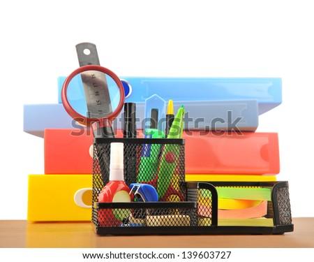 Pen basket stationery - stock photo
