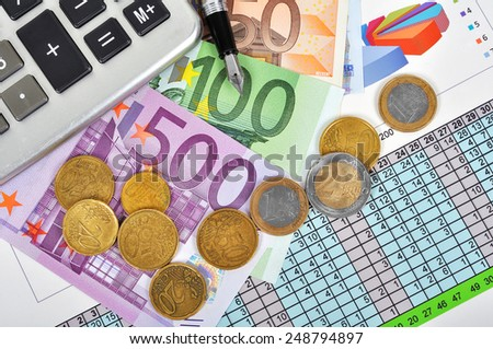Pen,calculator and euro bills, close up. Business concept - stock photo