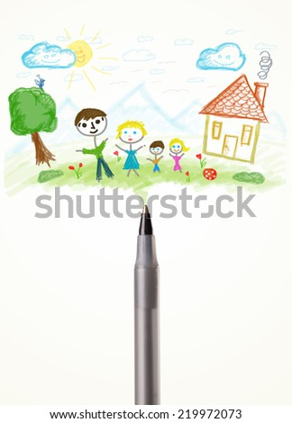 Pen close-up with a paint drawing of a family - stock photo