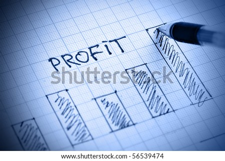 Pen drawing profit bar chart. Shallow DOF! - stock photo