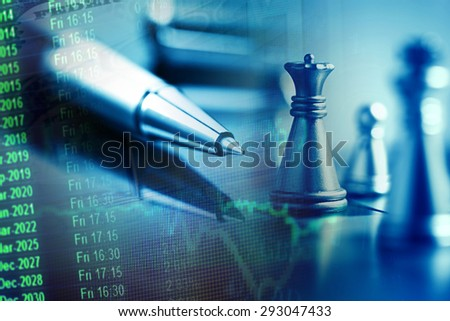 Pen, finance data and chess figures. Business concept. - stock photo