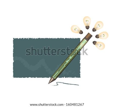 pen have five shining idea bulb on the top for writing on the broad - stock photo
