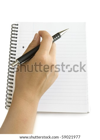 pen in hand writing on the notebook isolated on white - stock photo