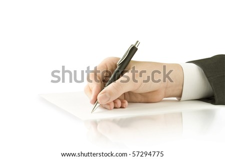 pen in the hand isolated on white and reflection - stock photo