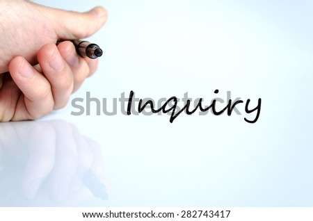 Pen in the hand isolated over white background Inquiry concept - stock photo