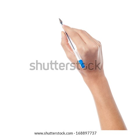 Pen in the woman's hand, isolated on white background - stock photo