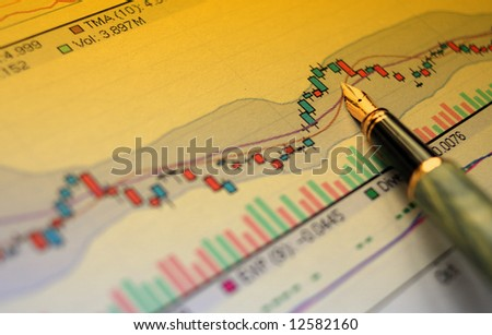 pen indicate diagram stat - stock photo