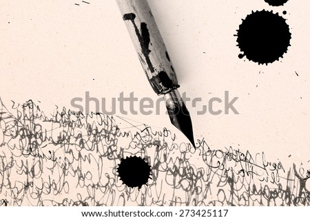 pen, ink jet bob and calligraphy - free space for your text on textured scratched paper - stock photo