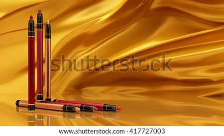 Pen lip on the background of a flying golden fabric. Bottle, style, makeup, lips, beauty, make-up, facials. Cosmetics. 3D rendering - stock photo