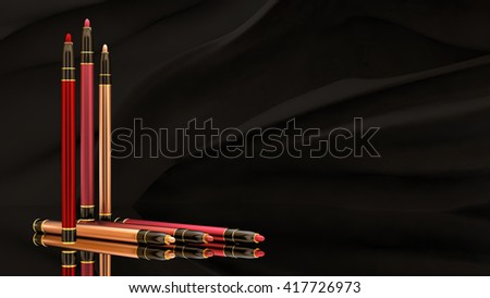 Pen makeup on a black background. Bottle, style, makeup, lips, beauty, make-up, facials. Cosmetics. 3D rendering - stock photo