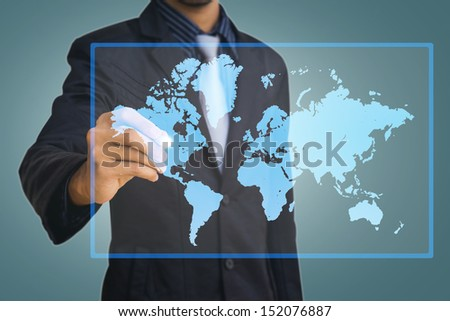 pen on map by businessman - stock photo