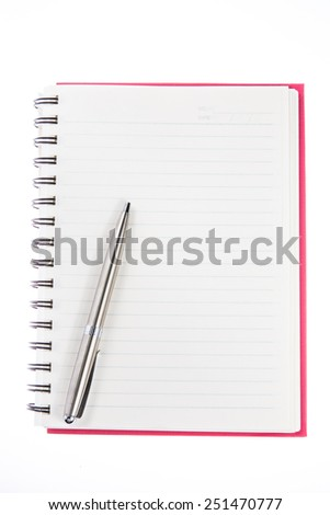 pen over note book on white background - stock photo