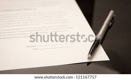 pen signature - stock photo