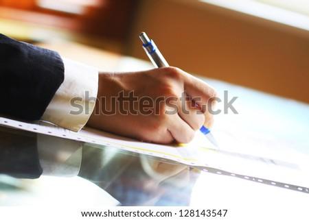 pen work hand work background - stock photo