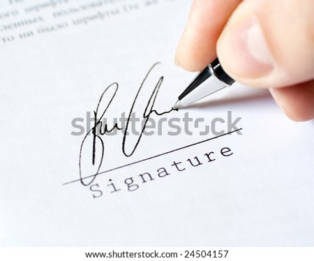 pen work hand work, signature - stock photo