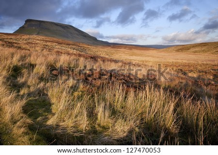 Pen-y-Ghent Yorkshire Dales National Park Autumn evening - stock photo