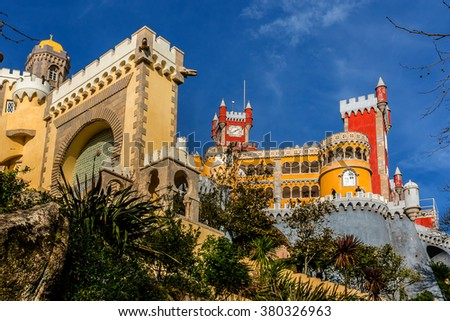 Pena National Palace (Palacio Nacional da Pena) - Romanticist palace in Sao Pedro de Penaferrim. Sintra, Portugal. Palace is a UNESCO World Heritage Site and one of Seven Wonders of Portugal. - stock photo