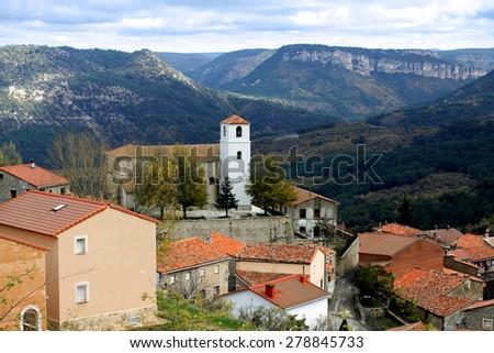 Penalen - town in province of Guadalajara. Castilla-La Mancha, Spain - stock photo