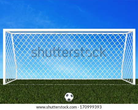 penalty area  with blue sky - stock photo
