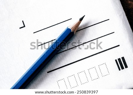 Pencil and letter without address - write address and send - stock photo