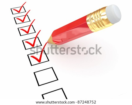 Pencil and questionnaire on white isolated background. 3d - stock photo