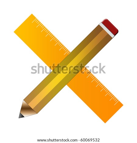 Pencil and Ruler - stock photo