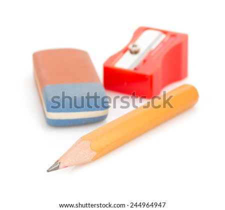 pencil and sharpener isolated on white background - stock photo