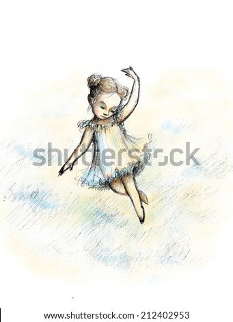 Pencil and watercolor drawing of little girl flying among the clouds - stock photo