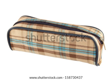 Pencil case isolated on a white background - stock photo