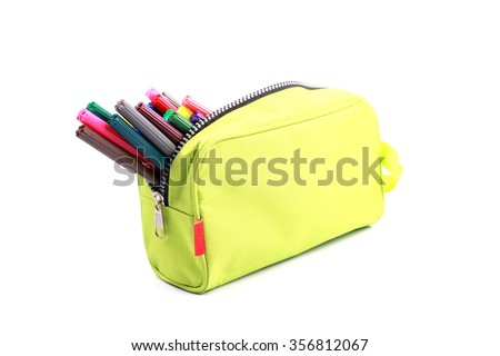 pencil case on white background - stock photo