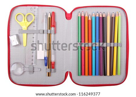 pencil case with school items - stock photo