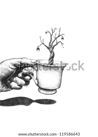 Pencil drawing: hand with a coffee cup - stock photo