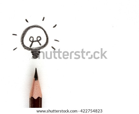 pencil drawing light bulb isolated on white, idea concept. - stock photo
