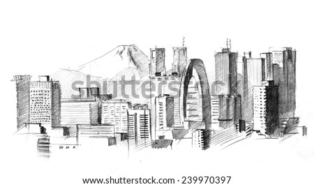 Pencil drawing of a big modern city with skyscrapers (Tokyo against volcano) - stock photo