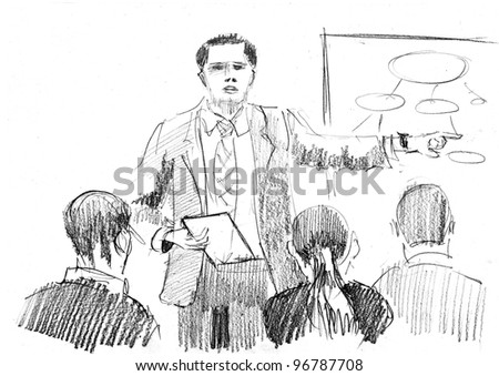 pencil drawing of a business presentation with speaker and listeners - stock photo