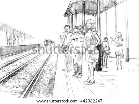 Pencil drawing of a railway station with passengers, waiting train - stock photo
